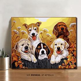 Tranh tự tô màu theo số DV0824 Tranh sơn dầu số hóa tự vẽ Đàn cún con