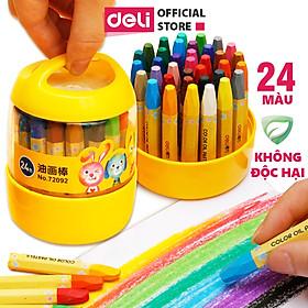 Bút màu sáp dầu học sinh hộp nhựa Deli - 12/18/24 màu - 72090/72091/72092
