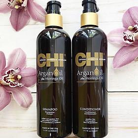 Bộ dầu gội xả CHI Argan Oil Plus Moringa Mỹ 340ml - Dưỡng ẩm mềm mượt trẻ hóa tóc-1