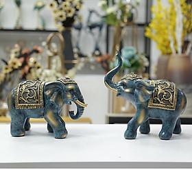 Tượng voi decor trang trí - bộ 2 con voi