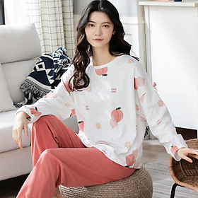 Đồ mặc nhà nữ tay dài quần dài cotton 8010