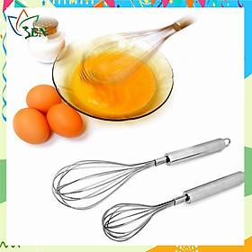 Combo 02 dụng cụ đánh trứng và khuẩy bột bằng inox cao cấp