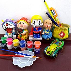 Đồ chơi trẻ em, Tô tượng thạch cao bộ 6 tượng size  9-11cm tặng 12 màu, 2 cọ, 1 vỉ (giao ngẫu nhiên)
