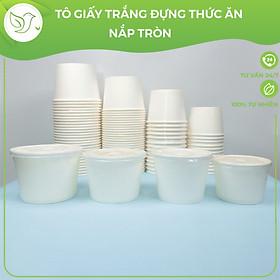 50 Tô giấy trắng đựng thức cơm, phở, thức ăn kèm nắp tròn nhựa PP dùng 1 lần