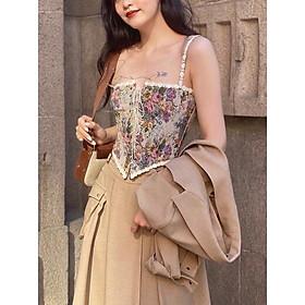 (SẴN S M L)️ Áo hai dây corset phong cách Pháp quyến rũ thắt eo vạt chữ V️