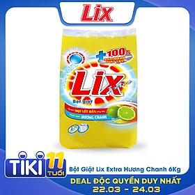 Bột Giặt Lix Extra Hương Chanh 6Kg EC006 - Tẩy Sạch Vết Bẩn Cực Mạnh