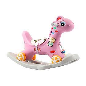 COMBO Ngựa Bập Bênh 2IN1 (có nhạc - bánh xe - đệm lót) + 1 Lục Lạc Gỗ Đáng Yêu - TẶNG 1 CUỐN TRUYỆN KỂ CHO BÉ