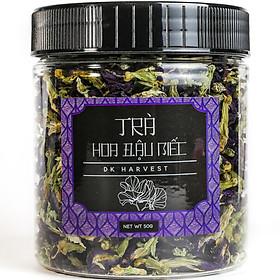 Trà Hoa Đậu Biếc Sấy Khô Nguyên Bông DK Harvest - được coi là thần dược rất tốt để ngăn ngừa vết nhăn và các dấu hiệu lão hóa da của tuổi tác.