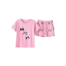 Bộ Mặc Nhà Nữ Hình Mèo Xinh Xắn YG1080 - Hồng