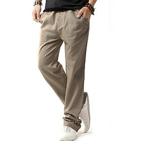 Quần kaki nam ống suông dài gam màu nhẹ nhàng , Phong cách thanh lịch 118 Kem