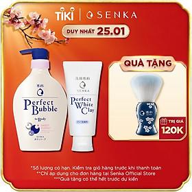 Combo Sữa tắm dưỡng ẩm Senka Perfect Whip hương hoa hồng, đinh hương 500ml và Sữa rửa mặt chiết xuất đất sét trắng Senka Perfect Whip Clay 120g