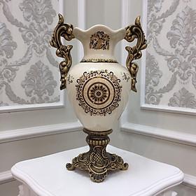Bình hoa trong combo CB25 với họa tiết thổ cẩm cổ điển trên nền gốm sứ men rạn cao cấp, dùng decor trang trí không gian phòng khách đẹp, tạo điểm nhấn sang trọng và lịch lãm cho không gian trưng bày.