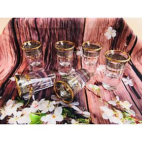 Bộ 6 ly rượu Shot thủy tinh khảm vàng cao cấp _ 20ML