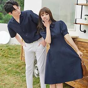 Bộ áo váy sơ mi cặp cao cấp, đồ đôi thời trang thiết kế nam nữ chất đẹp - Couple Tina