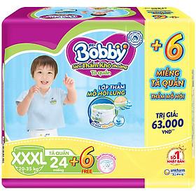 Tã Quần Bobby - Đệm Lưng Thấm Mồ Hôi XXXL24 (24 Miếng) - Tặng 6 Miếng Trong GóI