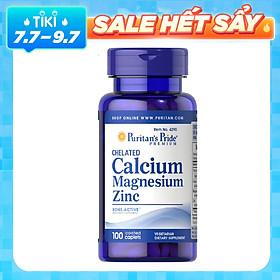 Thực Phẩm Chức Năng - Viên Uống Cải Thiện Chiều Cao, Hỗ Trợ Xương Puritan'S Pride Chelated Calcium, Magnesium & Zinc (100 Viên)