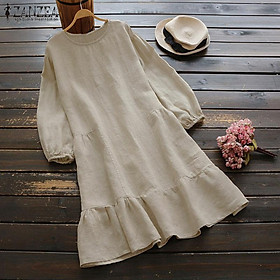 ZANZEA Women Long Sleeve Shirt Dress Oversize Vintage Loose Pleated Hem Midi Dress Tops