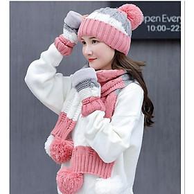 Bộ mũ len nữ kèm khăn và găng tay thời trang Mũ nón len nữ cao cấp có lót nỉ
