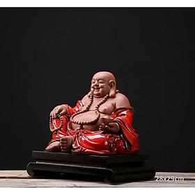 Tượng Phật Di lặc gốm đỏ 28x29cm