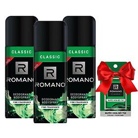 Bộ 3 chai xịt khử mùi  Romano Classic 150ml +Tặng kèm nước hoa bỏ túi Romano 18ml (Màu ngẫu nhiên)
