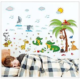 Decal dán tường tranh dán trang trí phòng bé yêu hình động vật biển vừa học vừa chơi DB072 ( 70 x 110 cm)