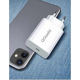 Adapter Sạc 1 Cổng USB Type-C 20W QGeeM cho iPhone 12/12 Pro Max/12 Mini, 11 Pro Max/SE/XS/XR/8, iPad Pro, Pixel 3/4/5, Galaxy S10+/S10/S9, LG-White-Hàng chính hãng