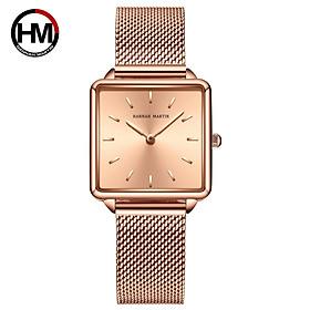 Đồng hồ nữ Hannah Martin - Thép không gỉ - Hình chữ nhật không thấm nước - Chất liệu thạch anh HM-108WF