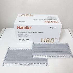 Khẩu trang y tế than hoạt tính Hamita 4 lớp (Hộp 50 cái) Hàng xuất khẩu Model H80+ _ ISO13485, CE, FDA