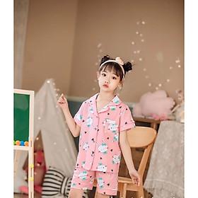 Bộ Pijama cộc tay hình thỏ nơ xanh xuất Hàn bé gái 2-14 tuổi