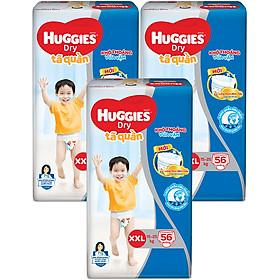 Combo 3 Gói Tã Quần Huggies Dry Gói Cực Đại XXL56 (56 Miếng) - Bao Bì Mới-0