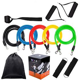 Bộ dụng cụ dây cao su đàn hồi tập thể thao, tập gym tại nhà tiện dụng J555 (tặng túi đựng dây rút)