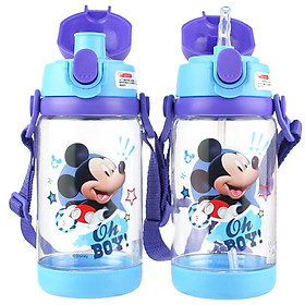 Disney baby children's cup baby straw cup summer with lock buckle portable drinking cup (dual use) 520ML blue