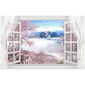 Tranh dán tường cửa sổ phong cảnh 3d 7