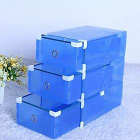Bộ 3 hộp đựng giày viền kim loại cứng có ngăn kéo