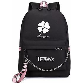 Balo tfboys màu đen thiết kế thông minh nam nữ đựng laptop hộp bút bóp vở viết đi học tiện dụng thiết kế thông minh