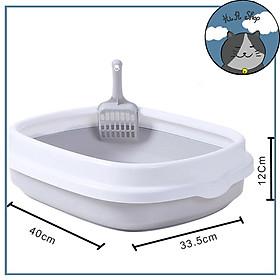 Khay Vệ Sinh Cho Mèo Hình Tai mèo Chất Liệu Nhựa ABS An Toàn Chống Văng Cát Tặng Kèm Xẻng Hót Cho Thú Cưng Dưới 7kg