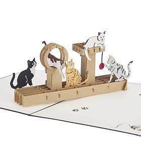 Thiệp 3D Sinh nhật - Thiệp 3D Con vật - Đàn mèo nhị thể - D39