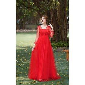 Đầm dạ hội đỏ tay dài phối lưới kết ng ọc trai