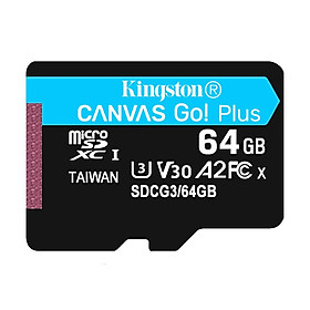 Kingston Canvas Go! Plus 64GB TF Card Micro SD Card U3 V30 A2 High Speed TF Card for Android Mobile Device Motion Camera