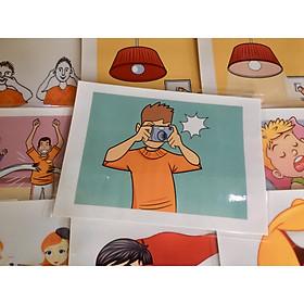 Verb Flashcards (Set 3) - Thẻ học tiếng Anh chủ đề Các động từ (Bộ 3) - 20 cards: score a goal, shout, show, smell, swim, swing, ...