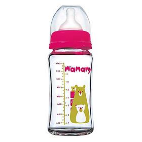 Bình Sữa Thủy Tinh Chông Trầy Chống Rơi Vỡ Mamamy 240ml