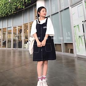 Váy yếm chỉ nổi phom rộng dáng suông freesize cá tính chất jean thô mềm dễ mix đồ cực chất (KHÔNG KÈM ÁO)
