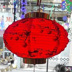 Đèn lồng vải đỏ trang trí kết hợp đèn led