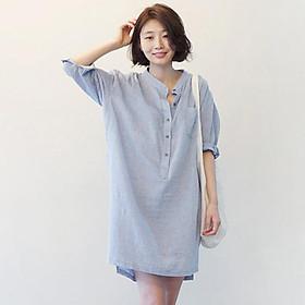 Đầm Suông Kẻ Sọc Cổ V Xám (Size S)