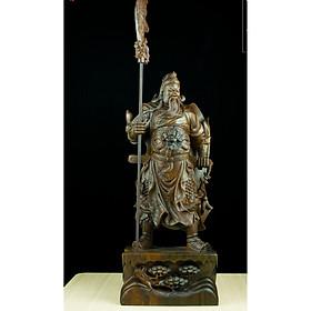 Tượng gỗ mỹ nghệ- Quan Công lập đao( đao rời)- gỗ mun hoa