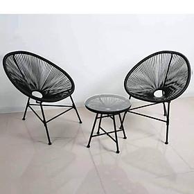 Bộ bàn ghế dây văng ban công, cafe -DV001 - Màu Đen