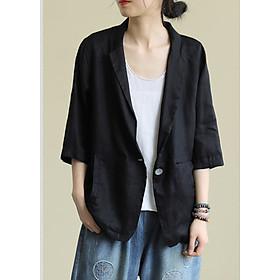 Áo vest Blazer Linen nữ tay lỡ 1 lớp, thiết kế 1 khuy, chất vải linen mềm mại, thời trang phong cách Nhật Bản