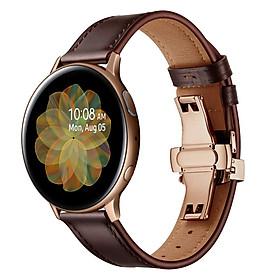 Dây Da Khóa Bướm Gold Chống Gãy Size 20mm Cho Galaxy Watch Active 1 / Galaxy Watch 42 / Galaxy Watch Active 2