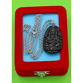 Hình đại diện sản phẩm Vòng cổ phật Thiên Thủ Thiên Nhãn - thạch anh đen 3.6cm DITTEB8 - dây inox bạc - kèm hộp nhung - tuổi Tý