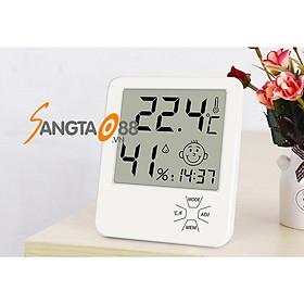 Thiết bị đo nhiệt độ, độ ẩm trong nhà tích hợp đồng hồ xem giờ thông minh LX8111 (Tặng bộ 6 con bướm dạ quang phát sáng)